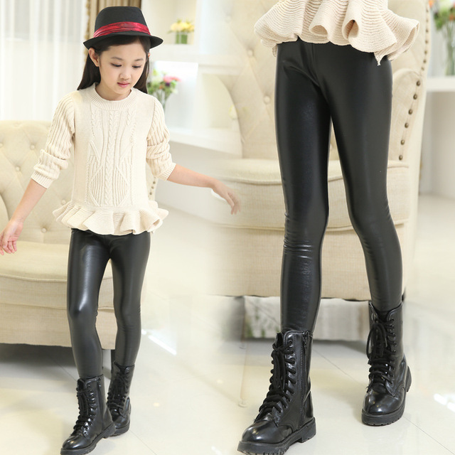 391e221982dcc 2015 New Winter Girls Slim Trousers Children Pants Big Virgin Plus Suede  Leather Leggings Child All-match Thick Legging