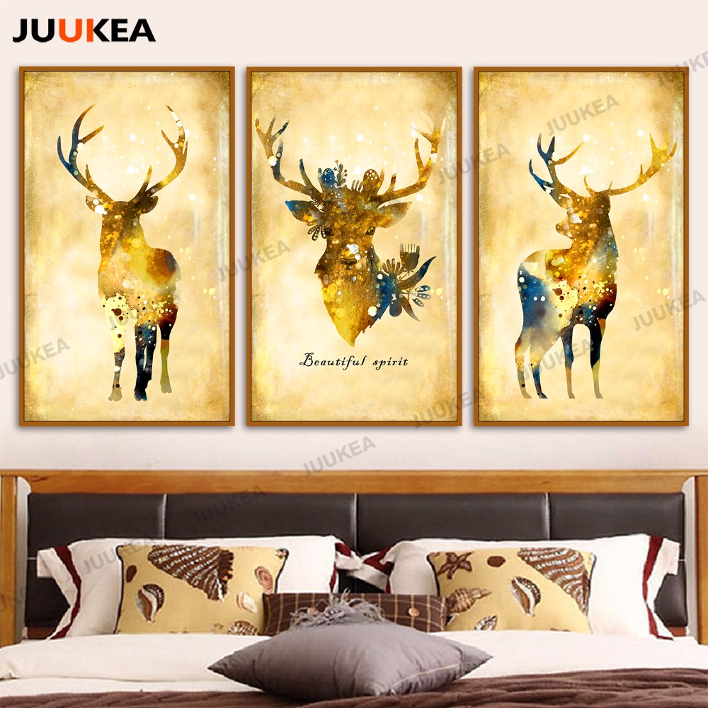 Vintage Natural Pastoral Lucky Gold Deer, Canvas Print Painting ...