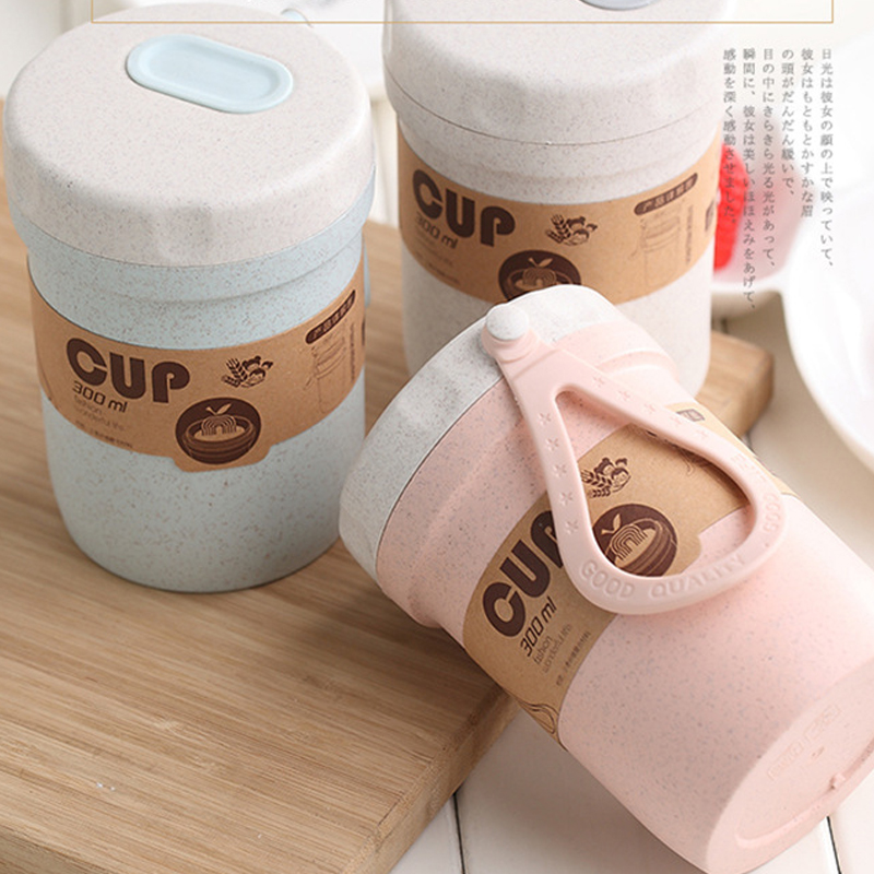 Creative wheat straw breakfast drink porridge cup portable breathable sealed soup cans to work soup cup image