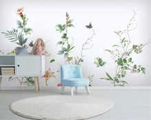 Купить с кэшбэком Beibehang wallpaper for walls 3 d Modern Hand Painted vintage floral butterfly background wall decorative painting 3d wallpaper