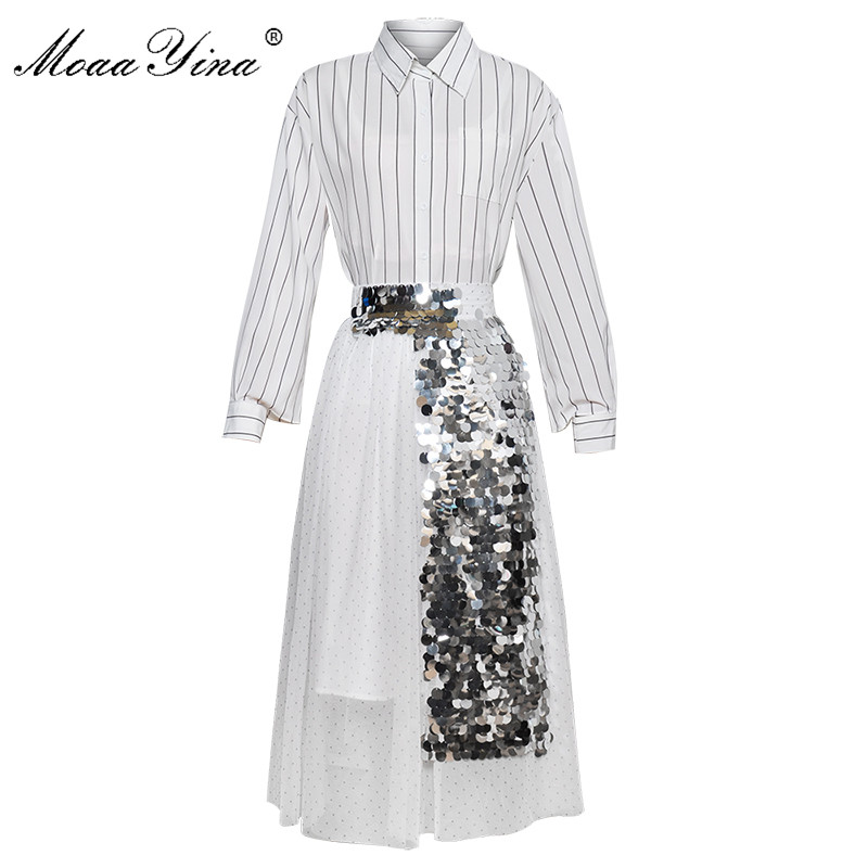 MoaaYina Fashion Designer Set Spring Summer Women Long Sleeve Stripe Shirt Tops+Mesh Sequin Skirt Two-piece Suit