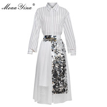 Shirt Mesh Two-Piece-Suit Sequin Long-Sleeve Fashion Women Summer Spring Moaayina Tops