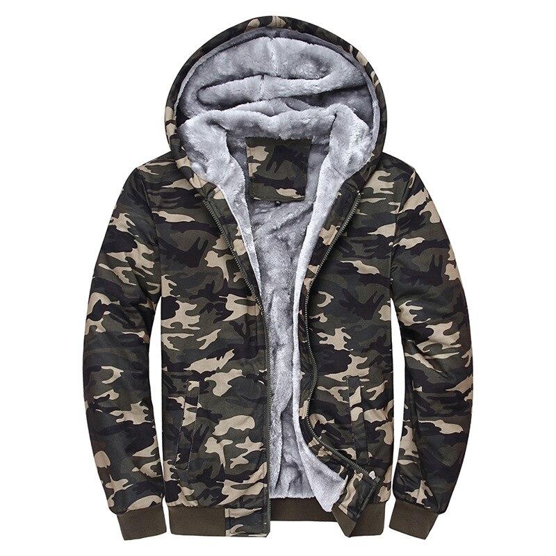 Mens Sweatshirt Jacket Hooded Top Camouflage Military Fur Lined Heavy Winter