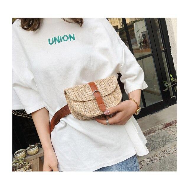 Новая Женская поясная кожаная соломенная сумка модная сумка на одно плечо сумка поясная сумка летняя пляжная сумка через плечо маленькая грудь
