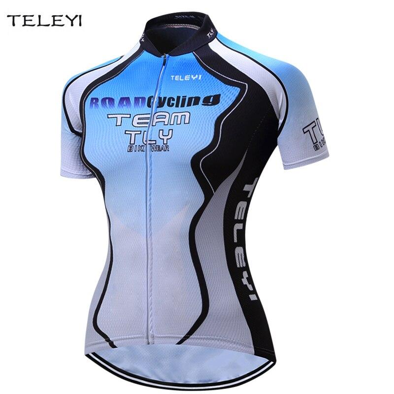 2017 Teleyi Women Short Sleeve Bike Shirt Bicycle Clothing Cycling Jersey S-XXXL
