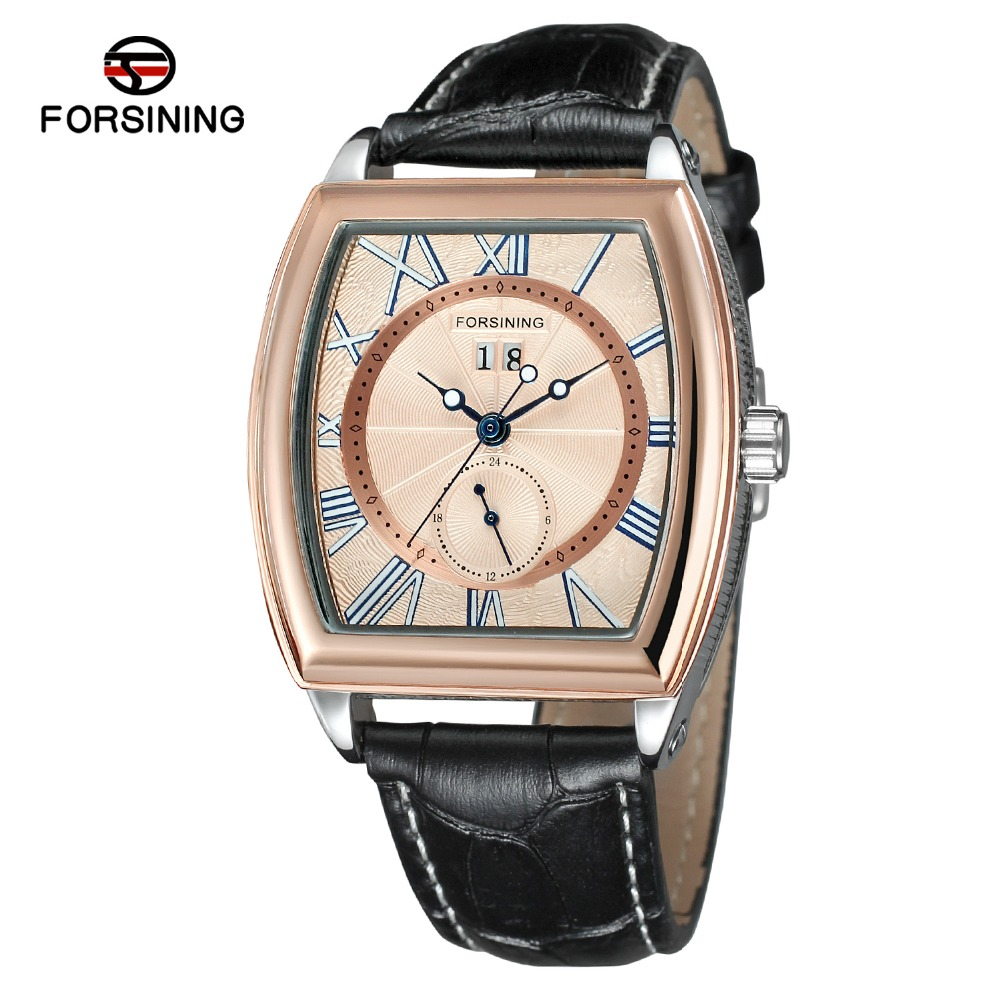 Forsining Top Brand Men's New Design Tonneau Shape Trendy Automatic Selfw-winding Popular Watch With Genuine Leather Band Clock