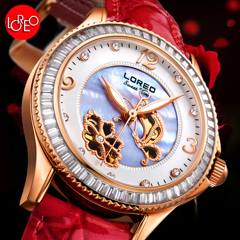 LOREO Austria Diamond automatic mechanical Pearl dial sapphire coated mirror water resistant luxury elegant watch loreo luxury brand austria diamond automatic mechanical pearl dial inlay diamond sapphire calendar water resistant lady watch