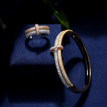 New Arrival Fashion Luxury 3 Color Shiny AAA Cubic Zirconia Women Bracelets Bangles And Ring Set with free shipping cheap JaneKelly Copper Aluminium Alloy Bracelets Ring Jewelry Sets TRENDY Anniversary jk-339 PLANT Platinum Plated