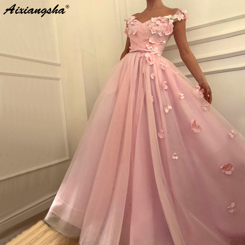 Pink   Prom     Dresses   2019 A-Line Off the Shoulder Flowers Pearls Tulle Party Maxys Long   Prom   Gown Evening   Dresses   Robe De Soiree