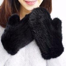 ブランドファッション冬の女性の手袋本物の 100% リアルミンクの毛皮の手袋ニットミトン厚く暖かい毛皮の手袋 & ミトン