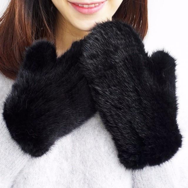 Guantes de invierno para mujer, manoplas de 100% piel de visón auténtica auténtico, de punto, gruesos y cálidos, para invierno