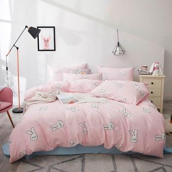 2019 Cartoon Lovely Bunny Pink INS 3/4pcs Bedding Set Cotton Bedlinens Twin Queen King Customize Size Bedsheet Pillowcases
