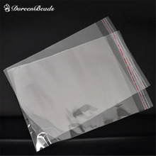 Free Shipping! 100PCs Clear Self Adhesive Seal Plastic Bags 20cmx13cm (Usable Space 17cmx13cm) (B19649)