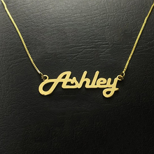 2019 personality woman necklace box chain necklace name custom necklace gold stainless steel pendant Gold Collier punk style gif цена 2017