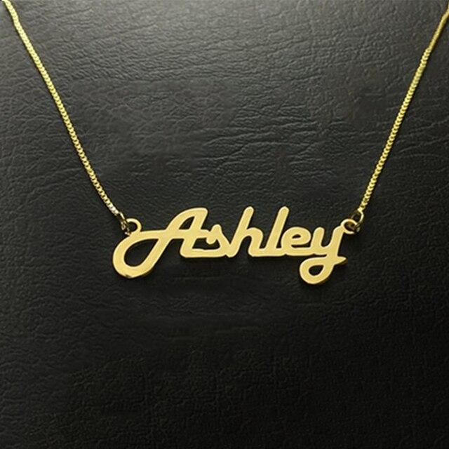 2019 personnalité femme Collier boîte chaîne Collier nom personnalisé Collier or acier inoxydable pendentif or Collier punk style gif