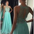 Longo Azul Chiffon Frisada Vestidos de Baile Cristais A Linha de Vestidos de Noite 2016 Vestidos Formais Da Graduação Vestidos para Adolescentes HD-437