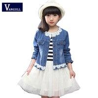 2016 New Korean Girls Spring Suit For Children In Children S Long Sleeved Denim Jacket Striped