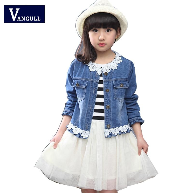 2016 new Korean girls spring suit for children in children's long sleeved denim jacket striped dress two piece