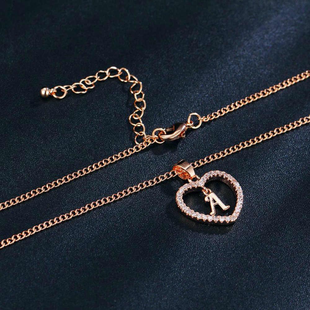 Romantische Liebe Anhänger Halskette Strass Ersten Brief Halskette Für Mädchen 2019 Frauen Alphabet Gold Halsbänder Trendy New Charms