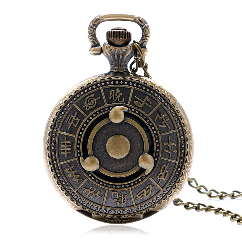YISUYA Japanese Animation Naruto Bronze Quartz Pendant Hollow Pocket Watch Long Necklace Chain Best Gift Men Women Collection