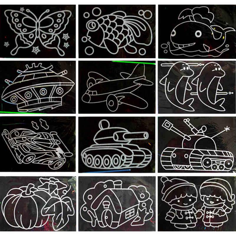 1 papel de arte colorido do risco de pcsmagic com vara de desenho para crianças brinquedo pintura papel de desenho brinquedos