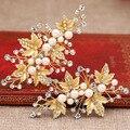 1 пара перл золотые листья заколку для волос Корейский невесты ювелирные изделия волос золото кристалл перл изысканные заколки невесты головной убор оптовая
