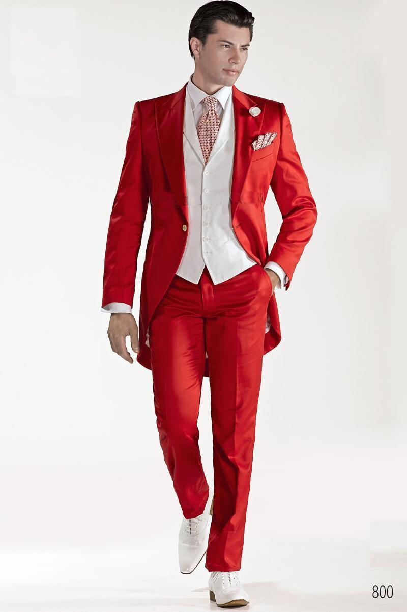 Custom Design Red Tailcoat Groom Tuxedos Peaked Lapel Best Men's Wedding Dress Prom Holiday Blazer(Jacket+pants+tie+Vest)