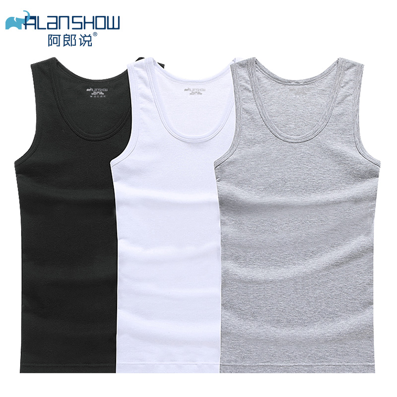 ALANSHOW Mens Undershirt Wrestling-Singlets Cotton Bodyshaper Male Fitness 3pcs/Lot Tank-Tops