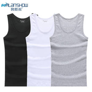 ALANSHOW 3Pcs/Lot Cotton Underwear Mens Undershirt Shirts