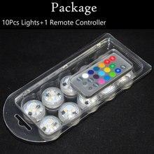 10 шт./компл. погружной светодиодный светильник RGB фонарик Floralyte Свадебная вечеринка лампы Дистанционное управление Водонепроницаемый ночные лампы аккумуляторы входят в комплект