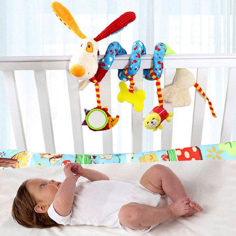 Bebé de peluche de juguete cuna espiral colgante móvil bebé cochecito cama Animal juguetes regalo para recién nacido niños de 0-12 meses mono feliz