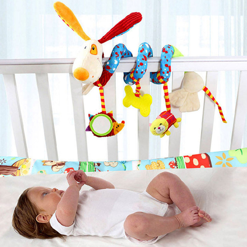 Happy Monkey Baby Plush Animal Rattle Mobile Infant Stroller Bed Crib Spiral Hanging Toys Gift for Newborn Children 0-12 Months 4 style baby toys soft cloth books rustle sound infant educational stroller rattle toy newborn crib bed baby toys 0 36 months