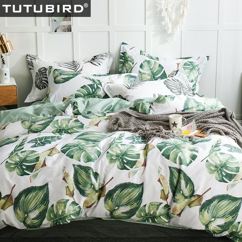 TUTUBIRD- Green leaf print bedlinen 100% cotton floral pastoral bedding set bedsheet bedspreader duvet cover bedclothes