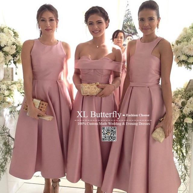 Mix Order Plus Size Elegant Satin Short Bridesmaid Dresses Latest ...