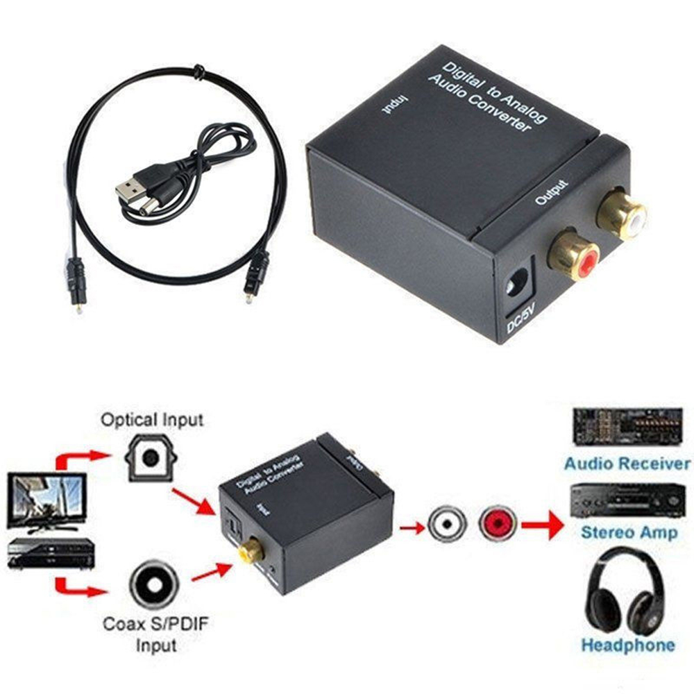 HD 1080P Digital Optical Coaxial Toslink Fiber Conversion SPDIF Coax To Analog RCA Audio Converter Adapter RCA L/R 3.5mm