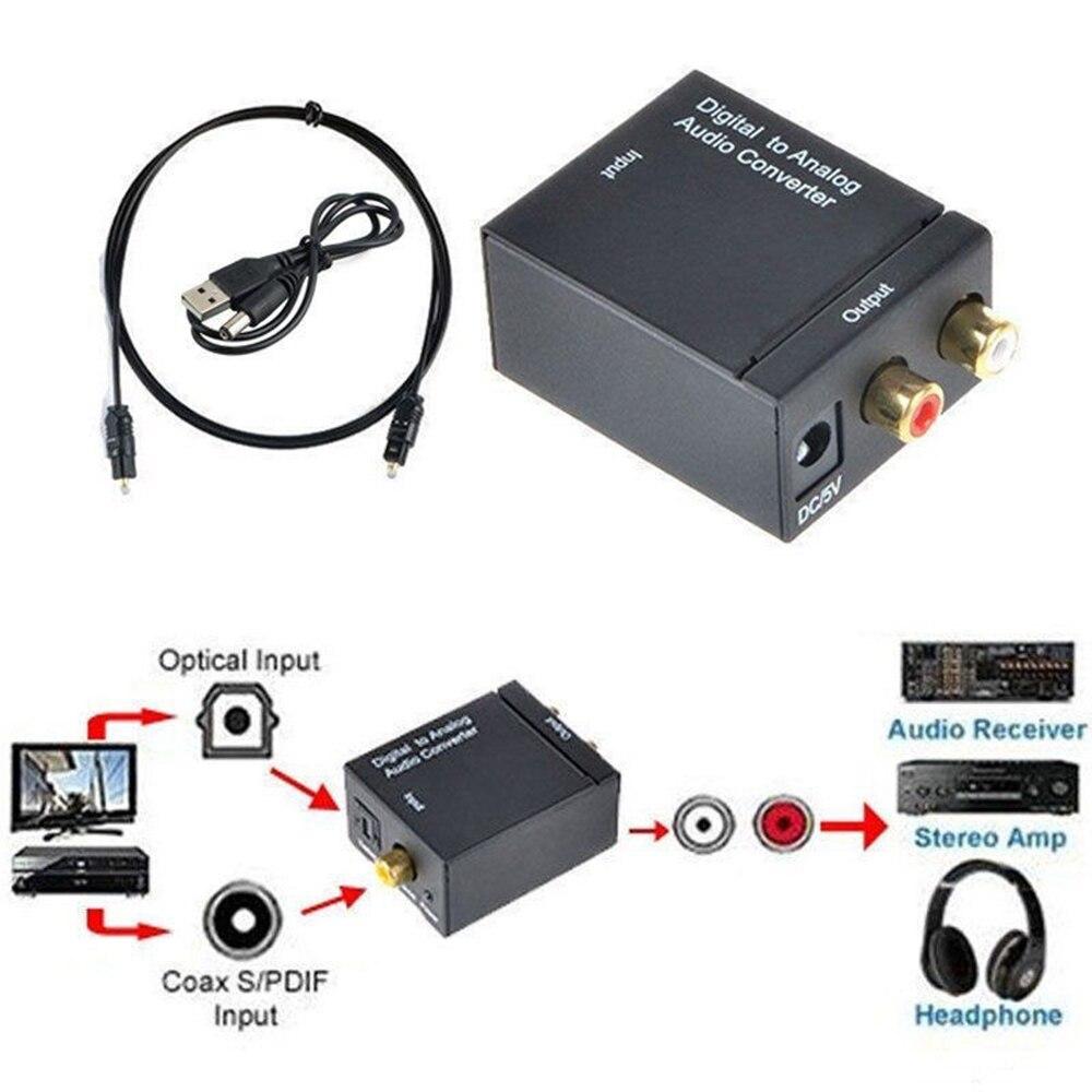 HD 1080P Optical Coaxial Toslink Digital Fiber Conversion To Analog Audio Converter Adapter RCA L/R 3.5mm