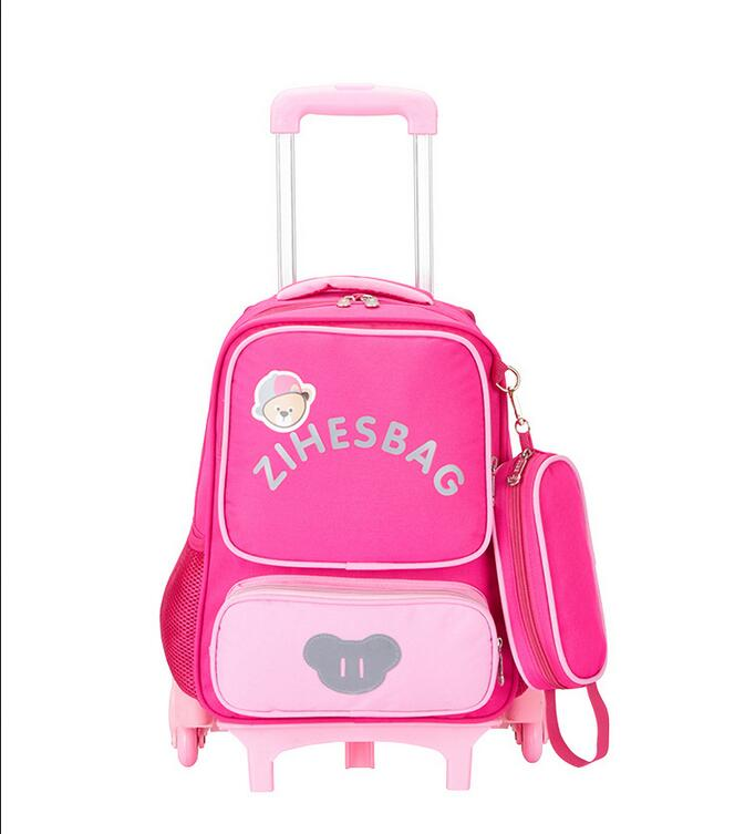 Children's trolley school bags 17 inch depressurize kids backpack Wheeled Bag climb the stairs 6 rounds kids school bag unique superman custom kids school backpack bag small the portable