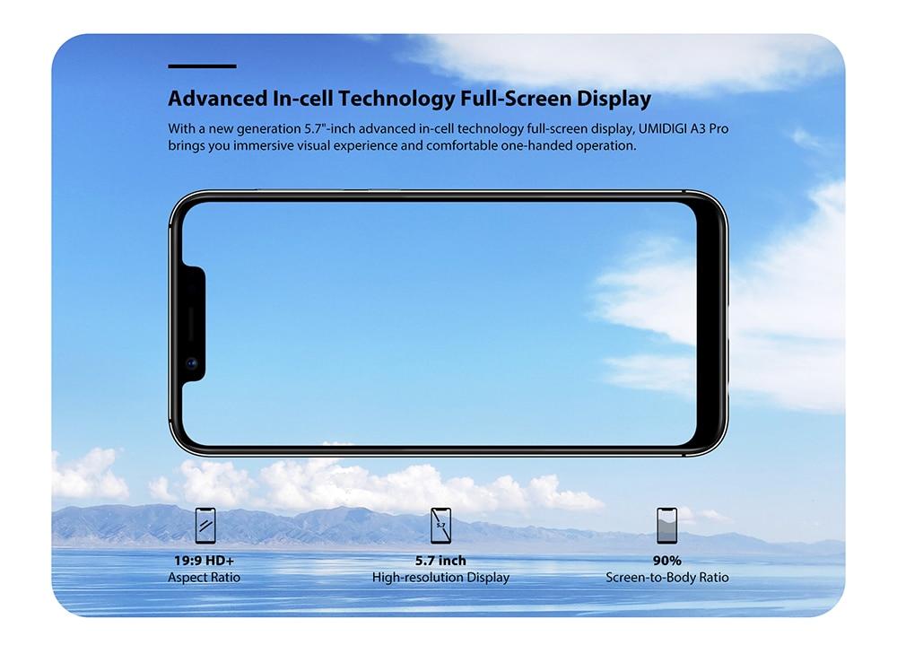 """Смартфон UMIDIGI A3 Pro Android 9,0 с полным экраном 5,"""" 19:9 3 ГБ ОЗУ 32 Гб ПЗУ четырехъядерный 12 Мп+ 5 Мп разблокировка лица двойной 4G"""
