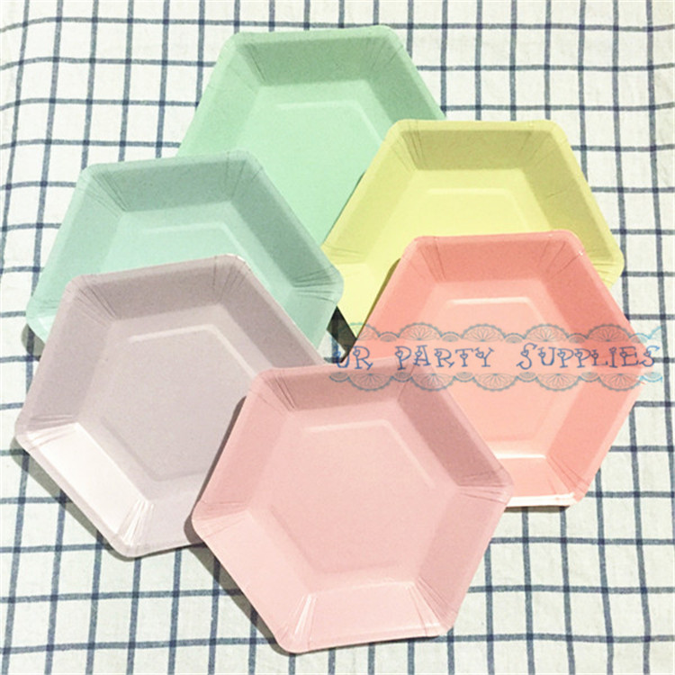 Free Shipping 60pc Pastel Colored Light Pink Paper Plates Hexagon Design for Birthday Parties Celebrations Showers Special Event-in Disposable Party ...  sc 1 st  AliExpress.com & Free Shipping 60pc Pastel Colored Light Pink Paper Plates Hexagon ...