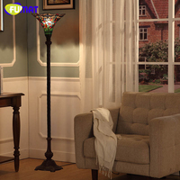 FUMAT European Style Tiffany Dragonfly Glass shade Floor Lights Vintage Creaitve Light For Living Room Bedside Stand Floor Lamps