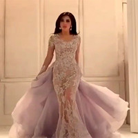 2018 Arabic Mermaid Evening Appliques Lace Long Sleeve Prom Sheer Removable Skirt Party bridal gown mother of the bride dresses