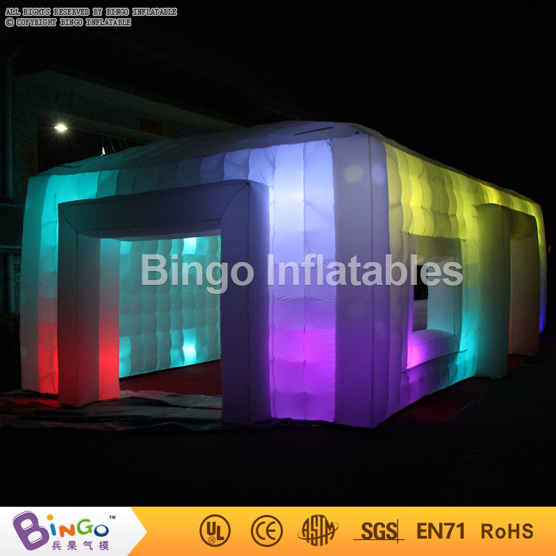 все цены на Free shipping LED lighting large inflatable giant party tent 9.5X5X3.7 Meters blow up cube tent inflatables toy tents онлайн