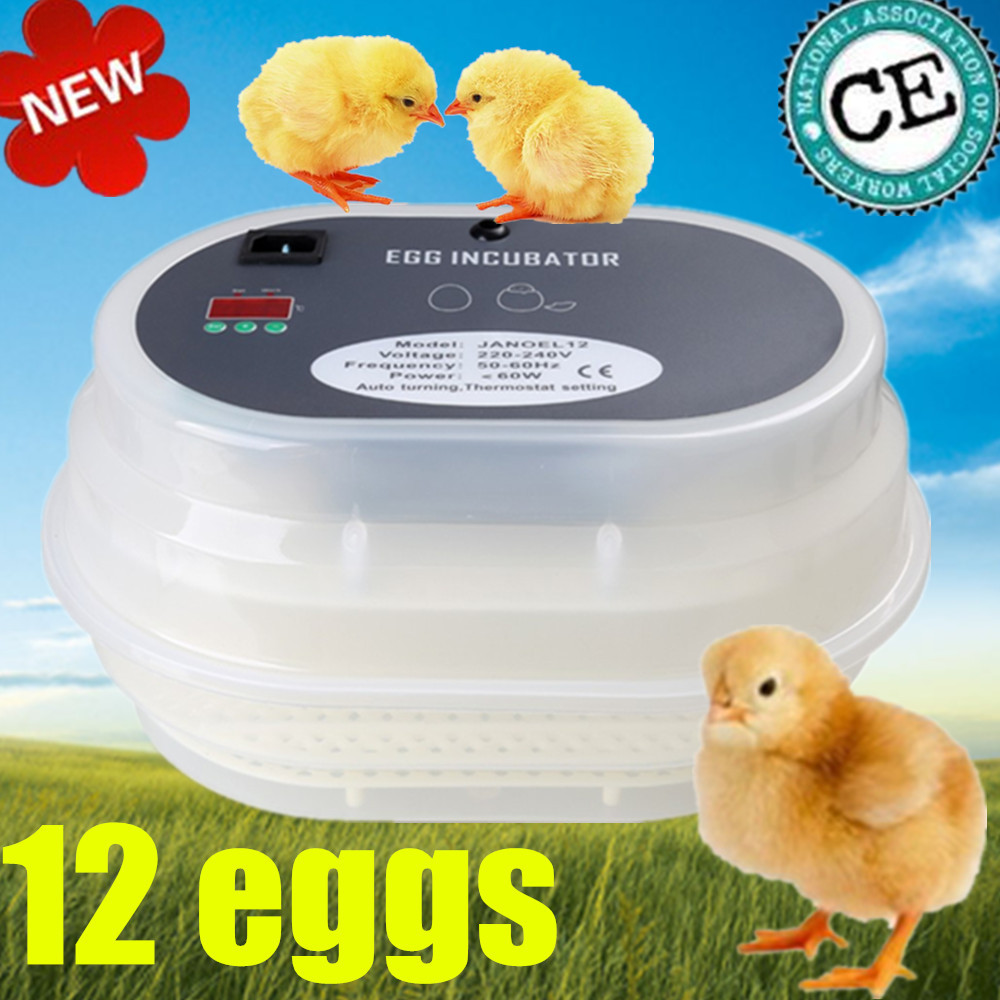 Hot sale JANOEL JN12 Automatic Turner Egg Incubator Poultry Fowl Avian NEW + Gift Light top sale household farm egg incubators 24 egg incubators for led display turner for sale