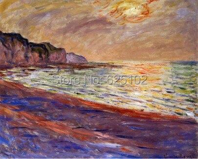 Playa At pourville, puesta de sol, 1882 Claude Monet