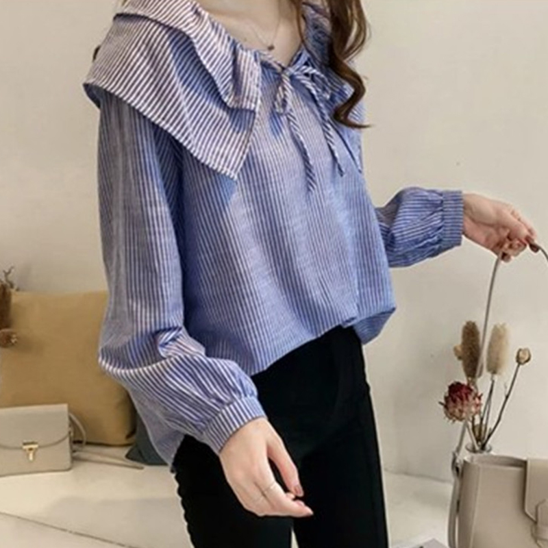 2019 Womens Plus Size Peter Pan Collar Tops And Blouses Ladies Casual Bowknot Long Sleeve Oversized Striped Shirts Blusas Mujer 11