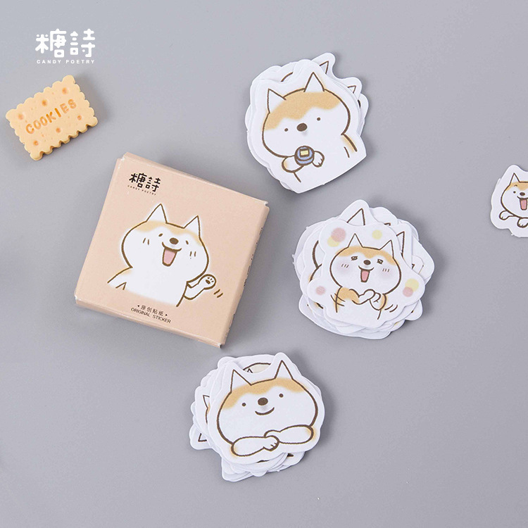 45PCS/box New Cute Dog duet Album Paper Lable Stickers Crafts And Scrapbooking Decorative Lifelog Sticker Cute Stationery