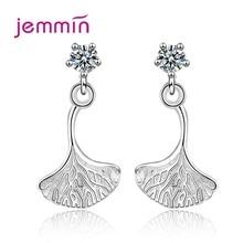 Women Long 925 Sterling Silver Metal Plant Ginkgo Biloba Drop Earrings Fashion Cubic Zircon Leaf Earrings For Boutique Lady Gift