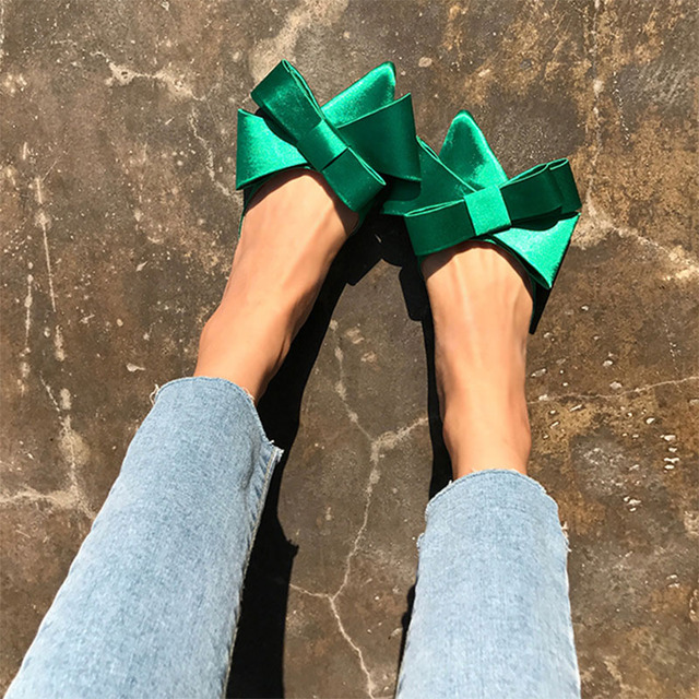 2018 spring and summer women s shoes Korean silk satin Pointed bow tie slippers Baotou