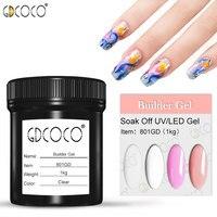 #801 gdcoco nail art 1000 ml transparente claro, blanco, rosa, camuflaje natural color UV/LED jalea dura constructor extender gel