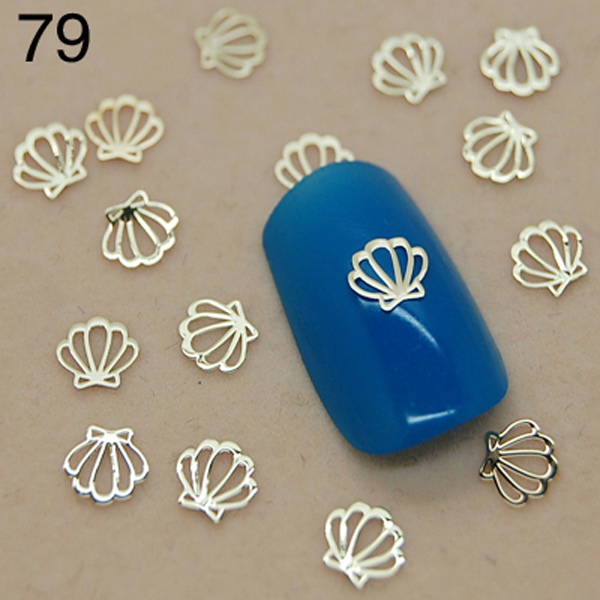 V79 800pcs Lot New Nail Art Gold Metallica Flower With Bow Tie Metal Slice Salon Wholes Nails In Rhinestones Decorations From Beauty Health On
